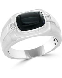 Bloomingdale's - Diamond And Black Agate Men's Band In 14k White Gold, .04 Ct. T.w. - Lyst