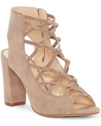 7ef3cbff60aa Lyst - Vince Camuto Women s Stesha Caged Suede Block Heel Sandals in ...