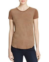 Majestic Filatures - Perforated Leather Front Tee - Lyst