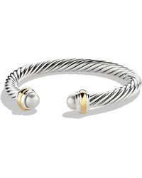 David Yurman - Cable Classics Bracelet With Pearls And Gold - Lyst