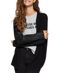 BCBGeneration - Faux Leather-sleeve Cardigan - Lyst
