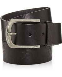 John Varvatos - Rose-embossed Washed Leather Belt - Lyst
