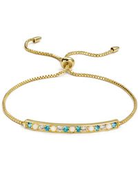 Argento Vivo - 18k Gold-plated Sterling Silver Multi Stone Bar Bracelet - Lyst