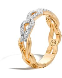 John Hardy | Bamboo 18k Gold And Diamond Link Ring | Lyst