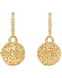Temple St. Clair - 18k Yellow Gold Lattice Diamond Drop Earrings - Lyst