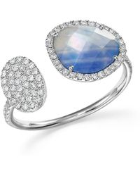 Meira T - 14k White Gold Sapphire And Moonstone Doublet Open Ring With Diamonds - Lyst