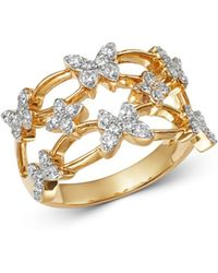 Bloomingdale's - Diamond Butterfly Cocktail Ring In 14k Yellow Gold - Lyst