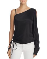 T By Alexander Wang - One-sleeve Draped Satin Top - Lyst