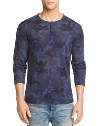 ATM - Camouflage Long Sleeve Henley Shirt - Lyst