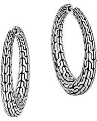 John Hardy - Sterling Silver Classic Chain Graduated Hoop Earrings - Lyst