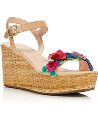 Kate Spade - Women's Tinsley Leather & Floral Appliqué Platform Wedge Sandals - Lyst
