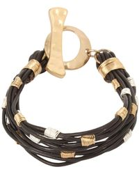 Robert Lee Morris - Two-tone Wire Wrap Leather Toggle Bracelet - Lyst