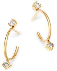 Zoe Chicco - 14k Yellow Gold Round & Princess Diamond Bezel Thin Huggie Earrings - Lyst