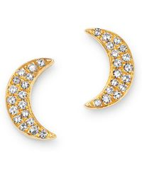 Moon & Meadow - 14k Yellow Gold Diamond Moon Stud Earrings - Lyst