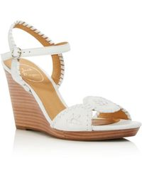 Jack Rogers - Women's Clare Leather Platform Wedge Sandals - Lyst