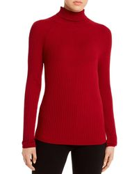 Piazza Sempione Fitted Ribbed Turtleneck Jumper - Red