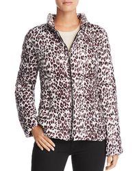 Aqua - Packable Leopard Print Puffer Coat - Lyst