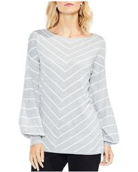 Vince Camuto - Chevron Stripe Bishop Sleeve Jumper - Lyst