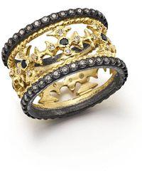 Armenta   18k Yellow Gold & Blackened Sterling Silver Maltese Cross White & Black Diamond Ring   Lyst
