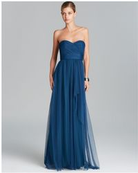 Amsale - Gown Strapless Cascade Ruffle Tulle - Lyst