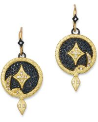 Armenta - 18k Yellow Gold & Blackened Sterling Silver Old World Champagne Diamond Serpent Disc Drop Earrings - Lyst