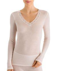 Hanro - Woolen Lace Long Sleeve Top - Lyst