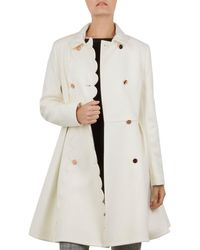 Ted Baker - Blarnch Scallop-edge Coat - Lyst