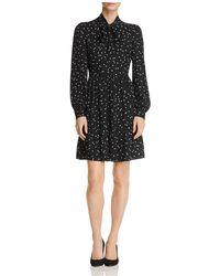 Kate Spade - Dot-print Tie-neck Shirt Dress - Lyst