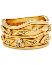 Temple St. Clair - 18k Yellow Gold River Wave Band With Diamonds - Lyst