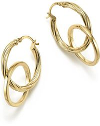 Bloomingdale's - 14k Yellow Gold Textured Double Drop Earrings - Lyst