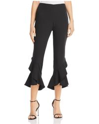 Aqua - Ruffled Cropped Trousers - Lyst