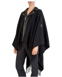The Kooples - Studded Leather-paneled Poncho - Lyst