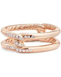 David Yurman - Continuance Knot Ring With Diamonds In 18k Rose Gold - Lyst