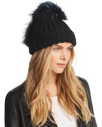 c99921476c586 Eugenia Kim Hadley Beret With Fox Fur Pom-pom in Brown - Lyst