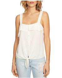 1.STATE - Ruffle-trim Tie-front Top - Lyst