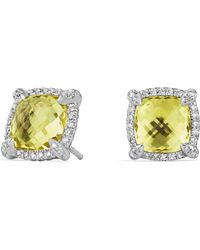 David Yurman - Châtelaine Pavé Bezel Stud Earrings With Lemon Citrine And Diamonds - Lyst