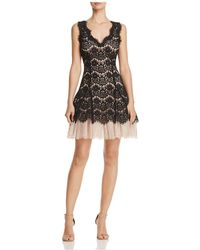 Betsy & Adam - Petite Lace Overlay A-line Dress - Lyst