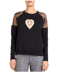 The Kooples - Lace-shoulder Embroidered Sweatshirt - Lyst