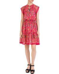 The Kooples - Coral Reef Bandana-print Silk Dress - Lyst
