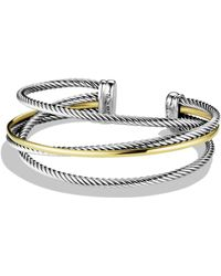 David Yurman - Crossover Three-row Cuff With Gold - Lyst