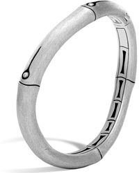 John Hardy | Brushed Sterling Silver Bamboo Curved Hinged Bangle | Lyst
