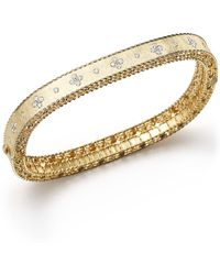 Roberto Coin | 18k Yellow Gold And Diamond Princess Bangle | Lyst