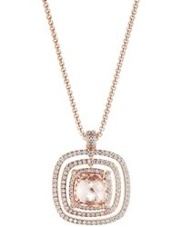 David Yurman - Chatelaine Pavé Bezel Necklace In 18k Rose Gold With Morganite And Diamonds - Lyst