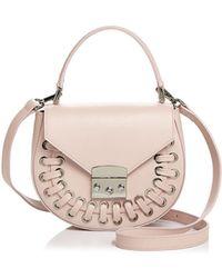 Aqua - Stitched Leather Saddle Bag - Lyst