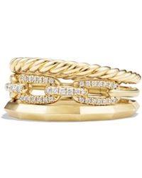 David Yurman - Stax Narrow Ring With Diamonds In 18k Gold - Lyst