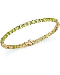 Bloomingdale's - Peridot Tennis Bracelet In 14k Yellow Gold - Lyst