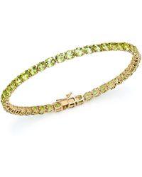 Bloomingdale's - Peridot Tennis Bracelet In 14k Yellow Gold - Lyst