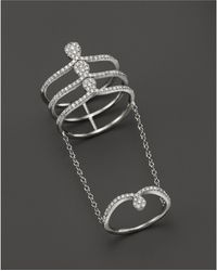 Meira T - 14k White Gold Midi Chain Ring With Diamonds - Lyst