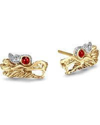 John Hardy - 18k Gold Naga Diamond Pavé Extra Small Dragon Head Studs Earrings With African Ruby Eyes - Lyst