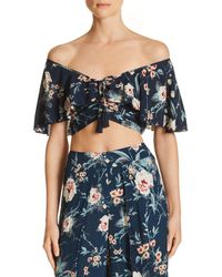 Band Of Gypsies - Alma Off-the-shoulder Crop Top - Lyst